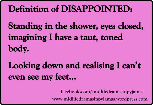 A funny MEME about the true definition of the word DISAPPOINTED, from the humour blogger Midlife Dramas in Pyjamas