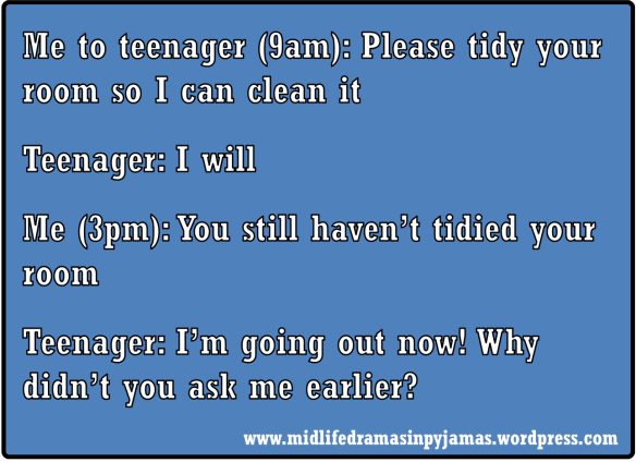A funny MEME about teenagers from humour blogger, Midlife Dramas in Pyjamas