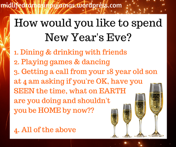 A funny meme about New Year's Eve, from humour blogger Midlife Dramas in Pyjamas
