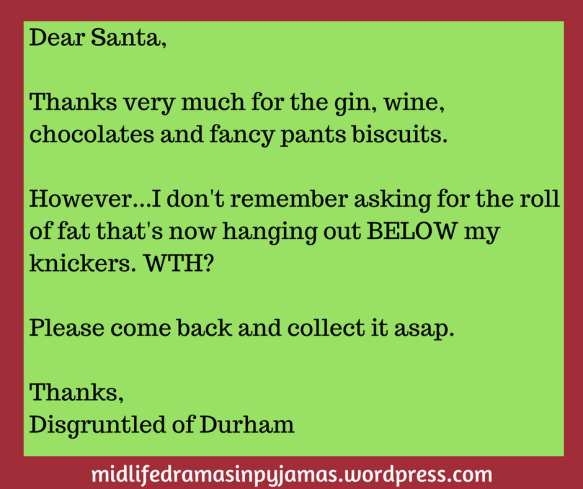 A funny thank you letter to Santa, from humour blogger Midlife Dramas in pyjamas