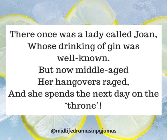 A funny limerick about a hangover, from humour blogger Midlife Dramas in Pyjamas