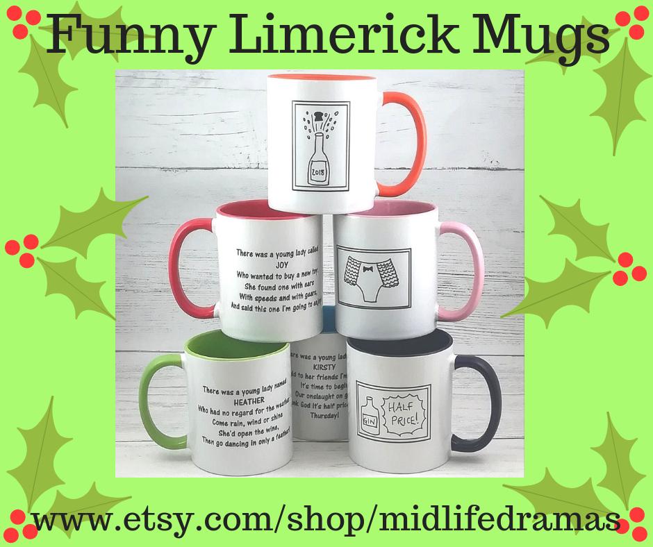 Funny limerick mugs from Midlfie Dramas in Pyjamas