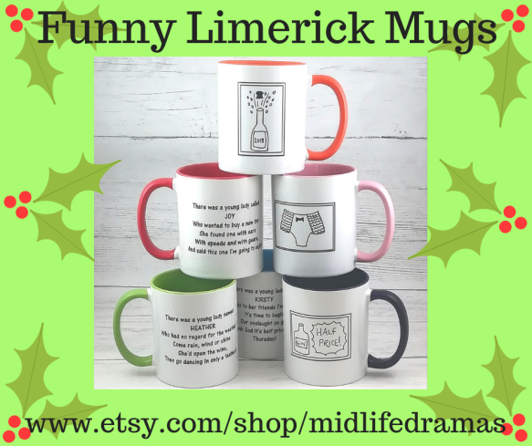 Funny limerick mugs from Midlfie Dramas in Pyjamas